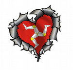 Ripped Torn Metal Heart Carbon Fibre with Isle Of Man Flag Motif External Car Sticker 105x100mm